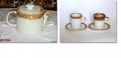 McCOY POTTERY -- VINTAGE GRAYSTONE TEAPOT WITH TWO CUPS AND SAUCERS
