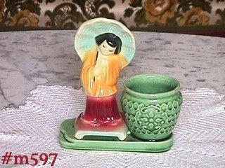 SHAWNEE POTTERY -- ORIENTAL GIRL WITH URN/PLANTER