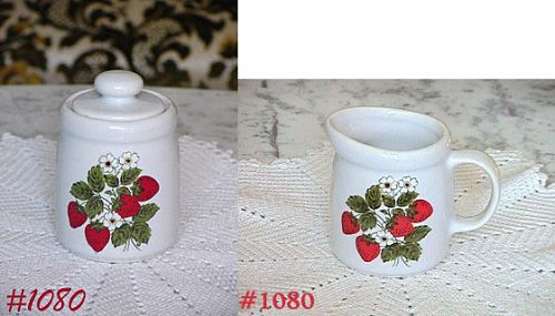 McCOY POTTERY -- STRAWBERRY COUNTRY CREAMER AND SUGAR