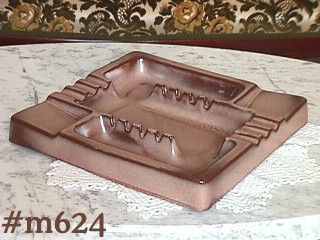 FRANKOMA POTTERY SATIN BROWN REALLY LARGE VINTAGE ASHTRAY