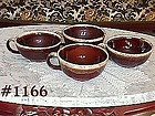 McCOY POTTERY -- BROWN DRIP CUP/BOWLS (4)