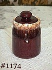 McCOY POTTERY -- BROWN DRIP SUGAR WITH LID