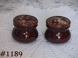 McCOY POTTERY -- BROWN DRIP SALT AND PEPPER SHAKERS