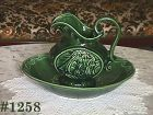 McCOY POTTERY VINTAGE CLIPPER SHIP GREEN PITCHER AND BOWL SET