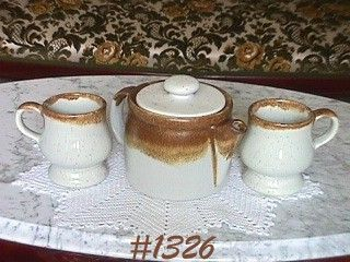 McCOY POTTERY -- GRAYSTONE TEAPOT AND 2 GRAYSTONE PEDESTAL MUGS