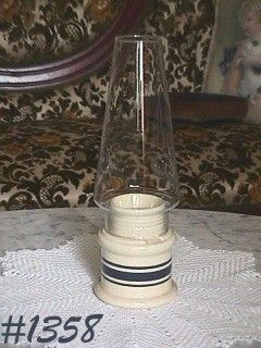 McCOY POTTERY -- BLUE STRIPES CANDLE HOLDER LAMP