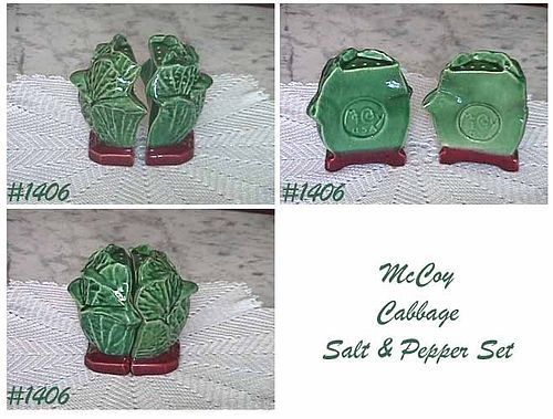 McCOY POTTERY -- CABBAGE SHAPED SALT AND PEPPER SHAKER SET