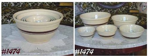 McCOY POTTERY -- FIVE STONECRAFT BROWN STRIPE BOWLS