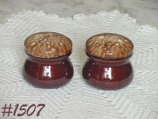 McCOY POTTERY BROWN DRIP STUBBY SALT AND PEPPER SET