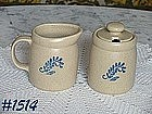 McCOY POTTERY -- BLUEFIELD CREAMER AND SUGAR WITH LID