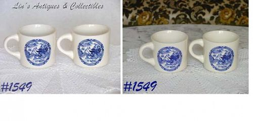 McCOY POTTERY -- BLUE WILLOW CUPS (4)