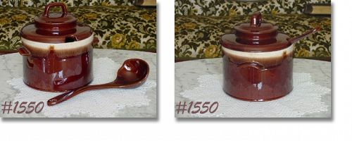 McCOY POTTERY -- LARGE SOUP POT WITH LADLE (BROWN DRIP)