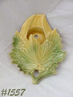 McCOY POTTERY VINTAGE LEAF SHAPED YELLOW AND GREEN WALL POCKET