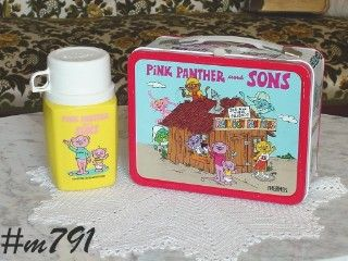 VINTAGE PINK PANTHER AND SONS LUNCHBOX AND THERMOS