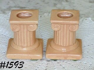 McCOY POTTERY MCCOY LTD COLUMN STYLE PEACH COLOR CANDLE HOLDERS