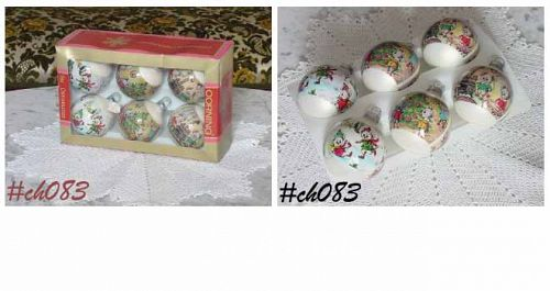 6 CORNING GLASS VINTAGE CHRISTMAS MOUSE MICE ORNAMENTS IN ORIGINAL BOX
