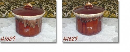 McCOY POTTERY BROWN DRIP COVERED POT WITH ORIGINAL LABEL