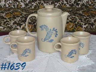 McCOY POTTERY -- VINTAGE BLUEFIELD COFFEE SERVER AND FOUR CUPS