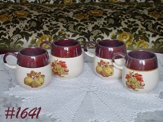 McCOY POTTERY -- SET OF 4 FRUIT FESTIVAL MUGS