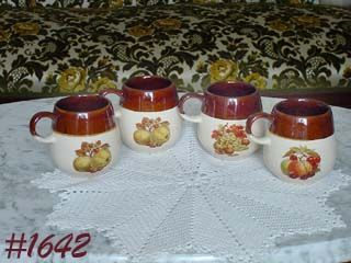 McCOY POTTERY -- FRUIT FESTIVAL MUGS (4)