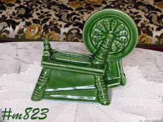 MORTON POTTERY GREEN SPINNING WHEEL PLANTER