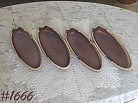 McCOY POTTERY -- BROWN DRIP CORN PLATES/SERVERS (4)