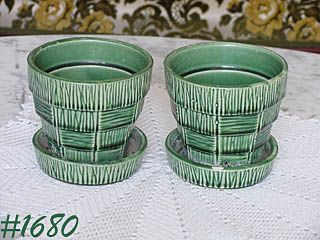 McCOY POTTERY TWO GREEN BASKETWEAVE 4 1/8 INCH TALL FLOWERPOTS