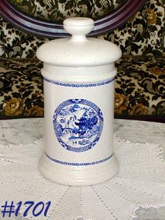 McCOY POTTERY BLUE WILLOW CANISTER MEDIUM SIZE