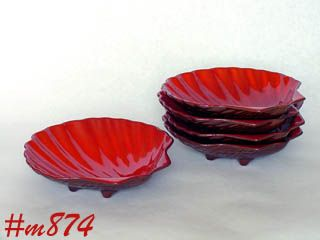 FRANKOMA POTTERY VINTAGE FLAME ORANGE COLOR SHELL SHAPE DISHES BOWLS