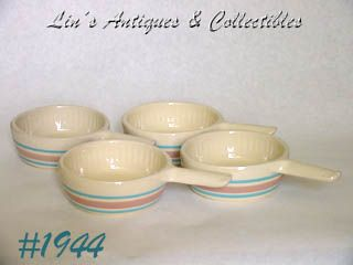 McCOY POTTERY -- STONECRAFT PINK & BLUE CASSEROLES (4)