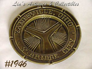 McCOY POTTERY -- ZANESVILLE Y BRIDGE ASHTRAY