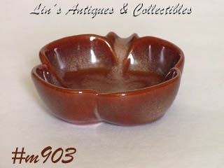 FRANKOMA POTTERY VINTAGE 4 LEAF CLOVER SATIN BROWN ASHTRAY OR BOWL