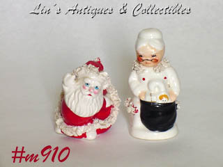 SPAGHETTI SANTA CLAUS AND MRS. SANTA CLAUS VINTAGE SHAKER SET