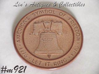 "FRANKOMA POTTERY -- ""LET FREEDOM RING"" LIBERTY BELL TRIVET"