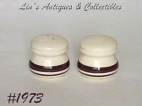 McCOY POTTERY -- STONECRAFT BROWN STRIPE SHAKER SET