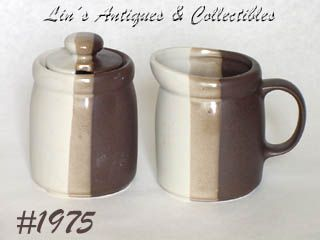 McCOY POTTERY VINTAGE SANDSTONE CREAMER AND SUGAR WITH LID