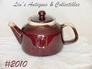 McCOY POTTERY -- VINTAGE BROWN DRIP TEAPOT