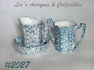 McCOY POTTERY -- BLUE COUNTRY PITCHER AND BOWL AND VASE