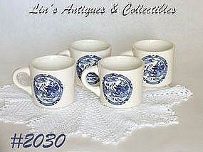 McCOY POTTERY -- BLUE WILLOW MUGS (4)
