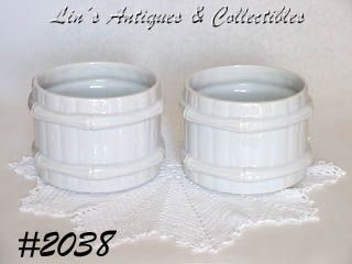 "McCOY POTTERY -- SET OF TWO ""BAMBOO"" JARDINIERES"