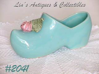 McCOY POTTERY -- BLUE SHOE PLANTER WITH PINK ROSE