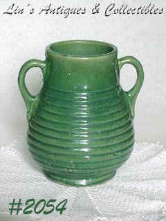 McCOY POTTERYVINTAGE 1930S EARLY STONEWARE RINGED DESIGN GREEN VASE