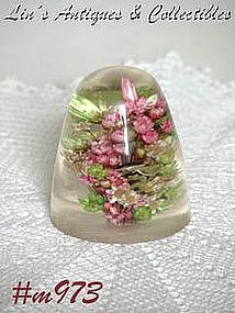 LUCITE WITH DRIED FLOWERS PAPERWEIGHT