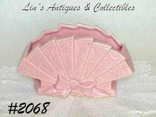 McCOY POTTERY -- VINTAGE PINK FAN SHAPED PLANTER