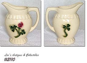 McCOY POTTERY -- BRUSH CLOVER LINE PITCHER!