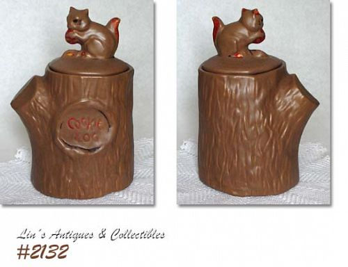 McCOY POTTERY -- SQUIRREL ON STUMP COOKIE JAR