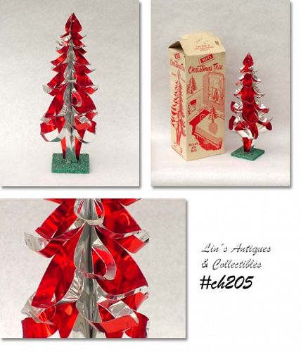 RED AND SILVER ALUMINUM CHRISTMAS DECO STYLE TABLE TREE BY DELTA