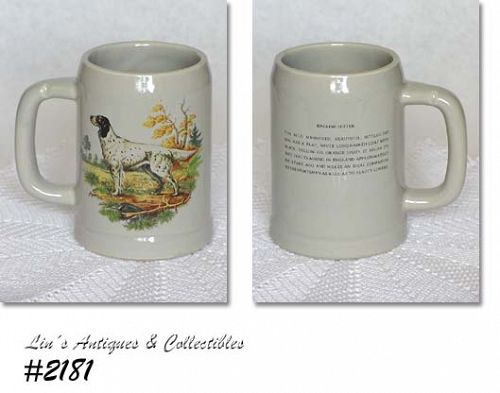 McCOY POTTERY -- HUNTING DOG STEIN (ENGLISH SETTER)