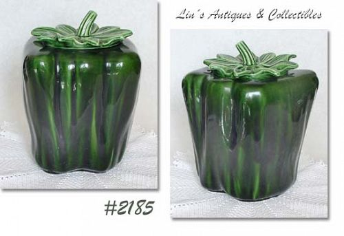 McCOY POTTERY LARGE GREEN PEPPER VINTAGE COOKIE JAR