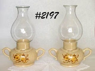 McCOY POTTERY -- YELLOW FLOWERS CANDLE LAMPS (2)